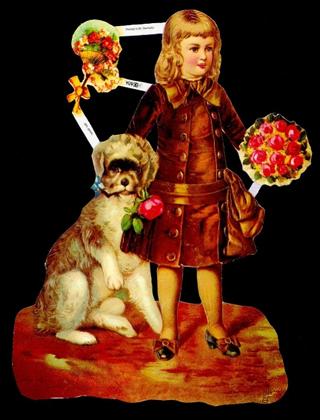 1 Bogen Glanzbilder mit Glimmer ,  Tiere,  Glanzbilder mit Glimmer,  Glanzbilder mit Glimmer,  Viktorian Kind mit Hund, Blumenstaruß,  Fächer