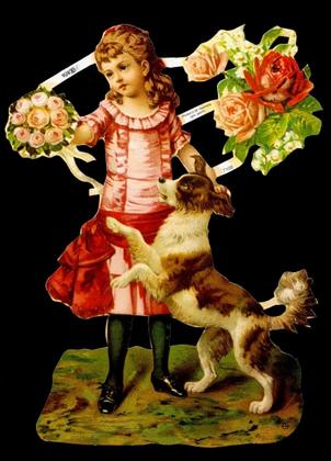 1 Bogen Glanzbilder mit Glimmer ,  Tiere,  Glanzbilder mit Glimmer,  Glanzbilder mit Glimmer,  Viktorian Mädchen mit Hund,  Blumenstrauß
