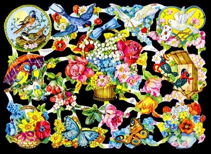 1 Bogen Glanzbilder mit Glimmer ,  Tiere,  Glanzbilder mit Glimmer,  Glanzbilder mit Glimmer,  Blumenkorb,  Schmetterlinge,  Tauben,  Vögel