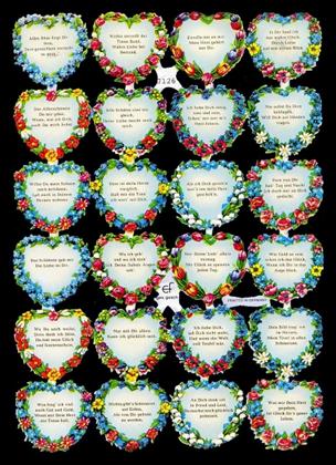 1 Bogen Glanzbilder mit Glimmer ,  Glanzbilder mit Glimmer,  Glanzbilder mit Glimmer,  Herzen