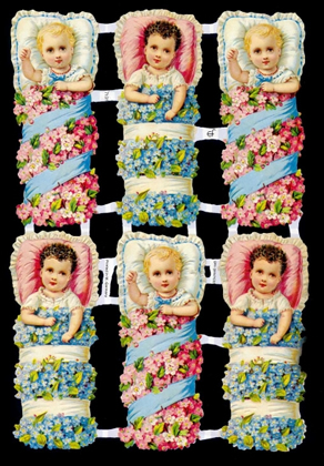 1 Bogen Glanzbilder mit Glimmer ,  Ereignisse,  Glanzbilder mit Glimmer,  Kinder,  6 Blumen Babys,  Geburt