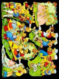 1 Bogen Glanzbilder mit Glimmer ,  Tiere,  Glanzbilder mit Glimmer,  Ereignisse,  Hochzeitsfest