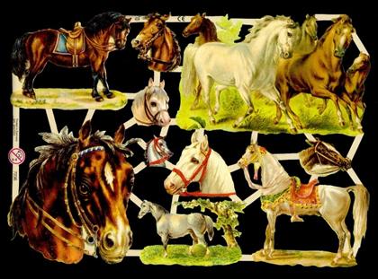 1 Bogen Glanzbilder mit Glimmer ,  Tiere,  Glanzbilder mit Glimmer,  Glanzbilder mit Glimmer,  Pferde