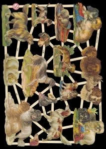 1 Bogen Glanzbilder mit Glimmer ,  Sonstiges,  Glanzbilder mit Glimmer,  Tiere,  Hunde