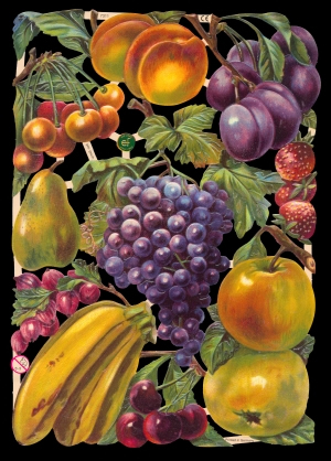 1 Bogen Glanzbilder ,  Sonstiges,  Glanzbilder,  Früchte,  Obst,  Bananen,  Äpfel,  Pflaumen,  Kirschen,  WEintrauben,  Erdbeeren