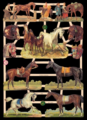 1 Bogen Glanzbilder mit Glimmer ,  Sonstiges,  Glanzbilder mit Glimmer,  Tiere,  Pferde
