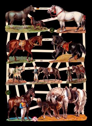 1 Bogen Glanzbilder mit Glimmer ,  Glanzbilder mit Glimmer,  Glanzbilder mit Glimmer,  Pferde,  Hunde,  Reiter