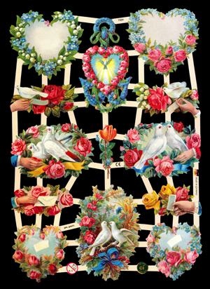 Glanzbilder mit Glimmer Herz mit Blumen+Vögel