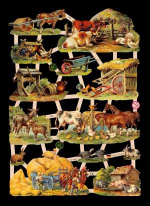 Glanzbilder mit Glimmer Bauernhof Tiere