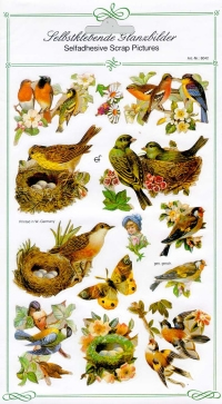 Glanzbilder - selbstklebend Vögel+Nester,  Glanzbilder selbstklebend,  Tiere,  Vogelnest,  Schmetterlinge