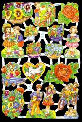 Glanzbilder Blumen/Kinder,50er Jahre,  Kinder,  Glanzbilder,  Glanzbilder