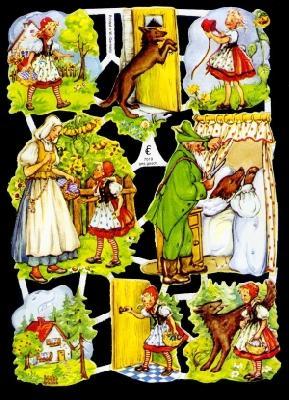 1 Bogen Glanzbilder ,  Glanzbilder,  Märchen,  Rotkäppchen