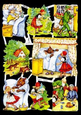 1 Bogen Glanzbilder ,  Glanzbilder,  Glanzbilder,  Märchen,  Rotkäppchen,  Wolf