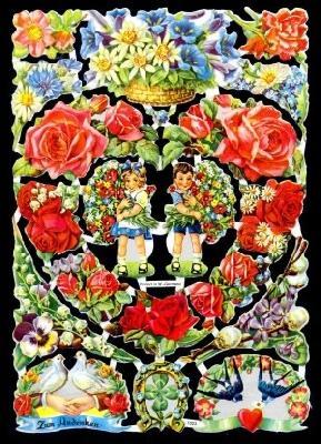 Glanzbilder Blumenherz,50er Jahre,  Glanzbilder,  Glanzbilder,  Rosen,  Tauben,  Hochzeit,  Edelweiß,  Kinder