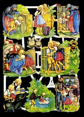 1 Bogen Glanzbilder ,  Glanzbilder,  Glanzbilder,  Märchen,  Hänsel und Gretel