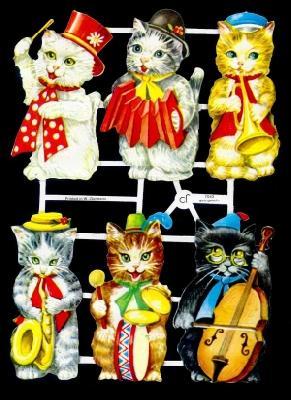 Glanzbilder 6 musizierende Katzen,  Tiere,  Glanzbilder,  Glanzbilder,  Katzen,  Musik