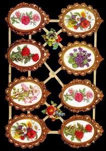 Glanzbilder 8 Blumen im Rahmen,  Glanzbilder,  Blumen,  Blumen