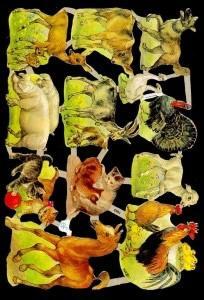 1 Bogen Glanzbilder mit Glimmer ,  Tiere,  Glanzbilder mit Glimmer,  Glanzbilder mit Glimmer,  Hühner,  Katzen,  Pferde,  Schwein,  Ziegen