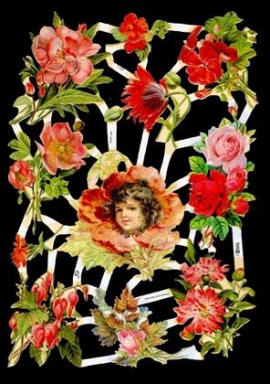 Glanzbilder Blumenmädchen rot,  Glanzbilder,  Blumen,  Mädchen,  Blumen