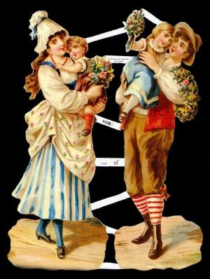 Glanzbilder Pärchen mit Kinder,Jugendtr.,  Sonstiges,  Glanzbilder,  Glanzbilder,  Kinder,  Frau,  Mann
