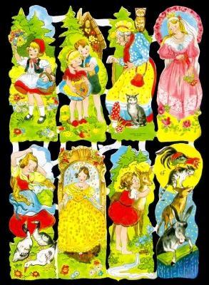 Glanzbilder Märchen Mix III,50er Jahre,  Glanzbilder,  Glanzbilder,  Märchen,  Rotkäppchen,  Hänsel und Gretel,  Frau Holle,  Bremer Stadtmusikanten