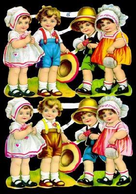 Glanzbilder 4 Kinderpaare,50er Jahre,  Glanzbilder,  Glanzbilder