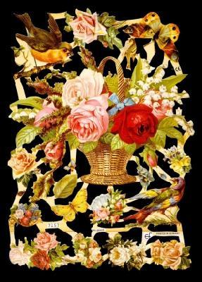 1 Bogen Glanzbilder , Tiere,  Glanzbilder,  Glanzbilder,  Rosen,  Vögel,  Schmetterlinge