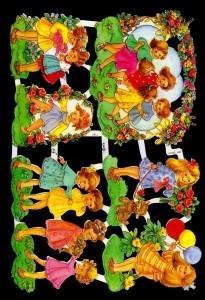 1 Bogen Glanzbilder ,  Glanzbilder,  Glanzbilder,  Geburtstag,  Mädchen