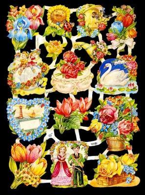 Glanzbilder mit Glimmer,  Glanzbilder mit Glimmer,  Glanzbilder mit Glimmer,  Rosen,  Tulpen,  Schwan ,  Vogelhaus