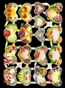 Glanzbilder mit Glimmer 17 Herzen/Blumen,50er J.