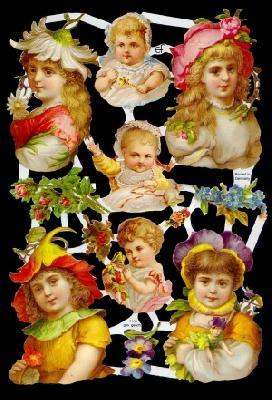 1 Bogen Glanzbilder mit Glimmer ,  Glanzbilder mit Glimmer,  Glanzbilder mit Glimmer,  Mädchen