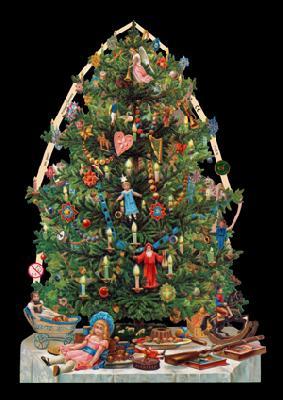 Glanzbilder Weihnachtsbaum,  Glanzbilder,  Weihnachtsmänner,  Tannenbaum,  Kerzen,  Geschenke