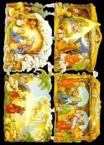 Glanzbilder mit Glimmer,  Weihnachten,  Glanzbilder mit Gold Glimmer,  Jesus,  Maria und Josef,  Krippe