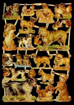 1 Bogen Glanzbilder mit Glimmer ,  Glanzbilder mit Glimmer,  Glanzbilder mit Glimmer,  Hunde