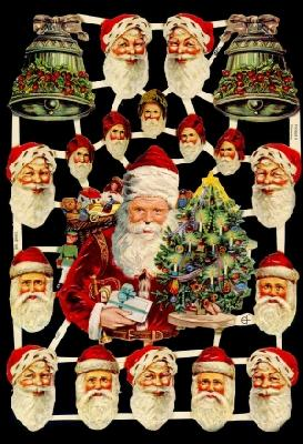 Glanzbilder Weihnachtsmännerköpfe,  Glanzbilder,  Glanzbilder,  Weihnachtsmann