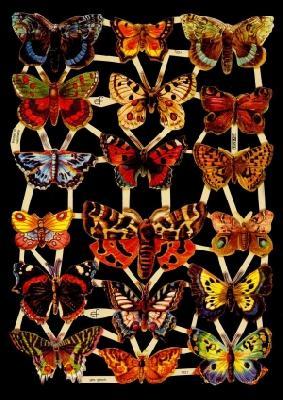 1 Bogen Glanzbilder mit Glimmer ,  Glanzbilder mit Glimmer,  Glanzbilder mit Glimmer,  Schmetterlinge