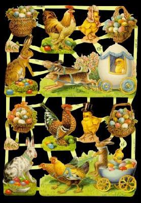 Glanzbilder Ostern,50er Jahre,  Glanzbilder,  Glanzbilder,  Osterhasen,  Küken,  Hühner