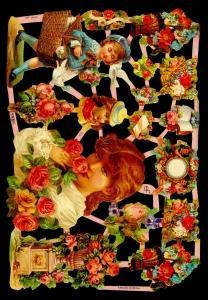 Glanzbilder Blumen/Kinder,Jugendtr.,  Glanzbilder,  Glanzbilder,  Rosen,  Mädchen