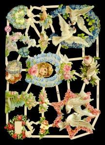 Glanzbilder Tauben mit Blumen,Jugendtr.,  Glanzbilder,  Glanzbilder,  Tauben