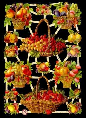 Glanzbilder Obstkörbe,Jugendtraum,  Glanzbilder,  Glanzbilder,  Erdbeeren,  Äpfel,  Weintrauben,  Birnen