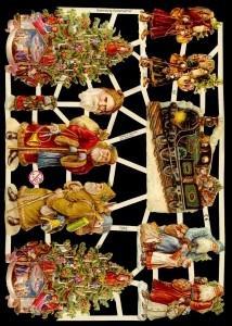 1 Bogen Glanzbilder ,  Glanzbilder,  Glanzbilder,  Weihnachtsbaum,  Weihnachtsmann