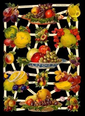Glanzbilder Obstschalen,Jugendtraum,  Glanzbilder,  Glanzbilder,  Obst,  Trauben,  Äpfel,  Zitronen
