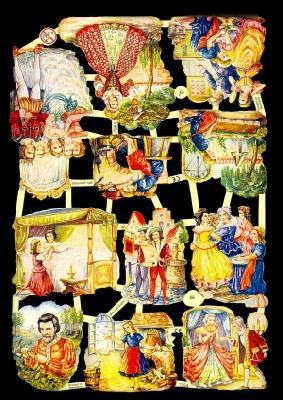 1 Bogen Glanzbilder ,  Glanzbilder,  Glanzbilder,  Aschenputtel