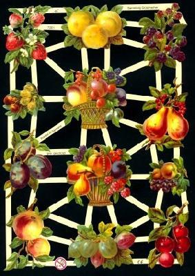 1 Bogen Glanzbilder ,  Glanzbilder,  Glanzbilder,  Obst,  Äpfel,  Trauben,  Birnen