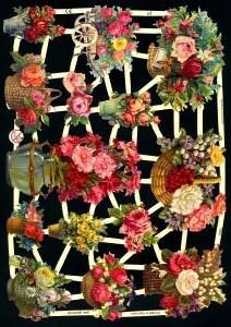 Glanzbilder Blumenkörbe,Jugendtraum