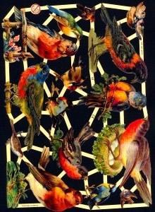 1 Bogen Glanzbilder mit Glimmer ,  Glanzbilder mit Glimmer,  Glanzbilder mit Glimmer,  Vögel