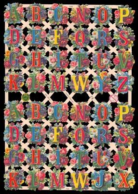 1 Bogen Glanzbilder ,  Glanzbilder,  Glanzbilder,  Buchstaben,  Blumen