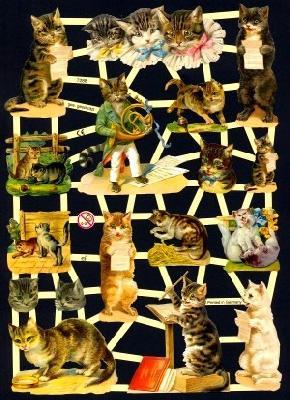 Glanzbilder musizierende Katzen,  Glanzbilder,  Glanzbilder,  Katzen