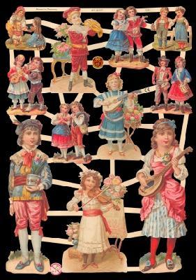 Glanzbilder Kinder,Jugendtraum,  Glanzbilder,  Glanzbilder,  Musikanten,  Instrumente