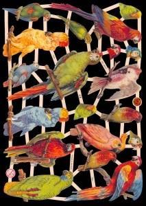 1 Bogen Glanzbilder mit Glimmer ,  Glanzbilder mit Glimmer,  Glanzbilder mit Glimmer,  Papagei